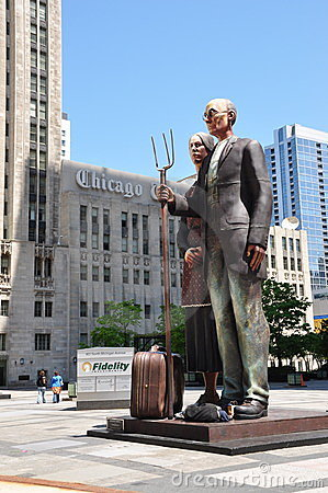 Statue in downtown Chicago Editorial Image