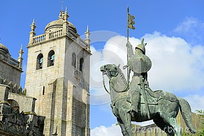 Statue in front of Porto Cathedral, Porto, Portuga