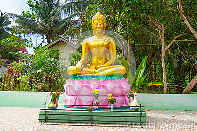 Statue of golden Buddha at the jungle