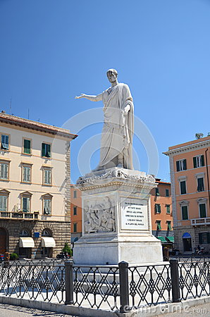 The statue of Grand Duke Ferdinand III on Piazza della Republica in Livorno, Italy