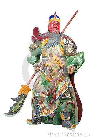 Statue Of Guan Yu (God of honor) on white background
