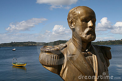 Statue in the harbour of Chiloe