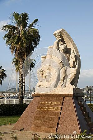 Statue homage resistance ajaccio corsica france