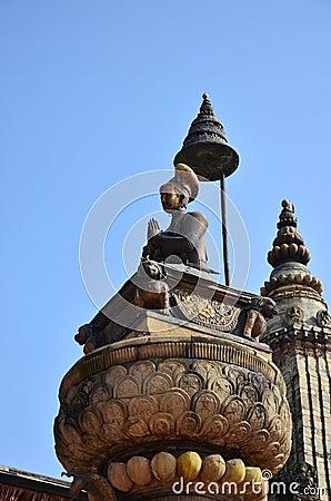 Statue image King Ranjit Malla in Bhaktapur Durbar Square