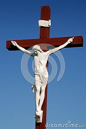Statue of Jesus Christ on wood cross