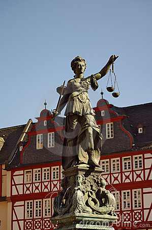Statue of Justizia at Romer in Frankfurt