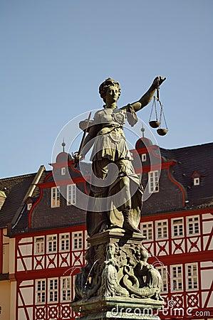Statue of Justizia at Romer in Frankfurt