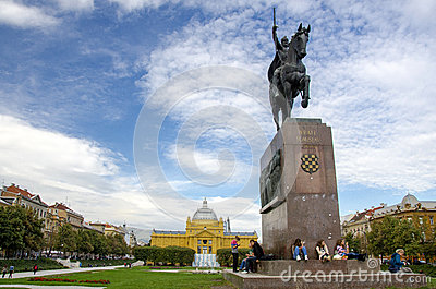 Statue of king Tomislav, Zagreb Editorial Photography