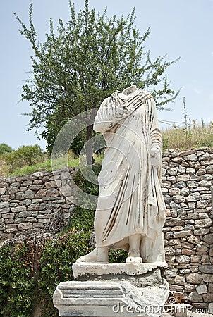 A statue on Kuretes Street in Ephesus, Turkey