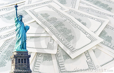 Statue of liberty on 100 us dollars background