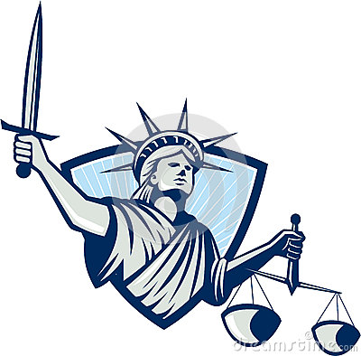 Statue of Liberty Holding Scales Justice Sword
