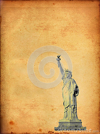 Statue of Liberty on old paper