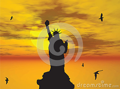 Statue of Liberty Silhouette against the Sunset Il