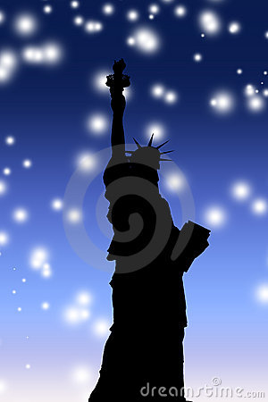 Statue of Liberty and starry night