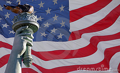 Statue of liberty torch & flag