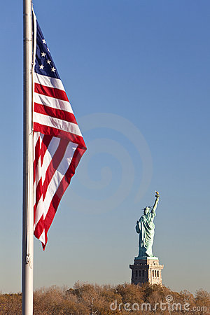 Statue of Liberty, US Flag, New York City