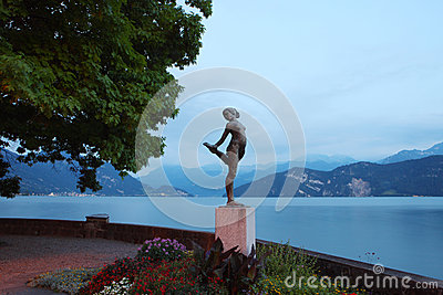 Statue in Lucerne lakeside