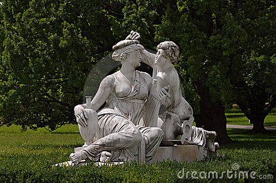Statue of Nymphs at Rosenstein castle in Stuttgart