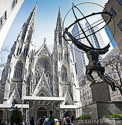 Free Statue Of Atlas And St Patrick Chruch Royalty Free Stock Photos - 19186558