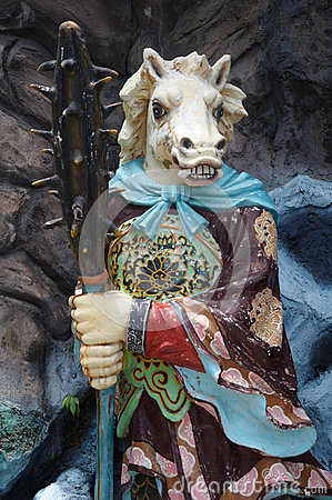 Free Statue Of Horse-Face At Haw Par Villa In Singapore. Royalty Free Stock Photo - 92375505