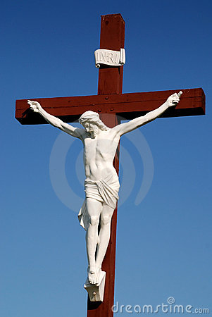 Free Statue Of Jesus Christ On Wood Cross Stock Images - 5254364
