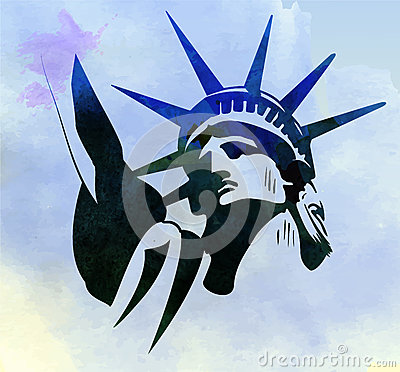 Free Statue Of Liberty Watercolor Painting Vector Royalty Free Stock Photography - 73007327