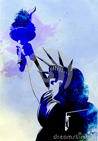 Free Statue Of Liberty Watercolor Painting Vector Stock Photos - 73007343