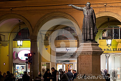 Statue of Padre Ugo Bassi in Bologna, Italy Editorial Stock Photo