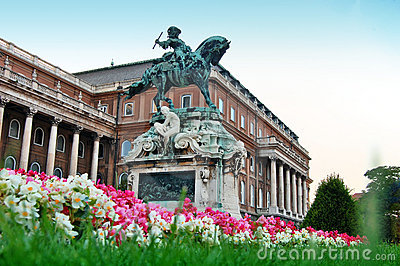 He statue of Prince Eugene of Savoy in front of Bu