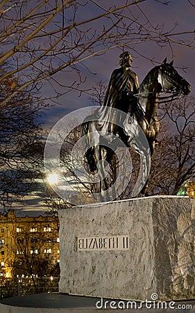 Statue of Queen Elizabeth II on Horse Editorial Stock Image