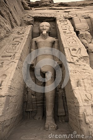 Statue of Rameses II outside the Hathor Temple of Queen Nefertari.  UNESCO World Heritage Site known as the Nubian Monuments.  Abu