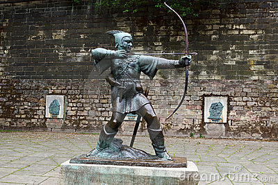 Statue of Robin Hood Editorial Stock Photo