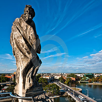 Statue on the rooftop of Wroclaw University Editorial Stock Photo