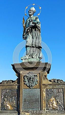 Statue Of St. John Of Nepomuk On Charles Bridge Stock ...