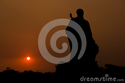 Statue in the sunset