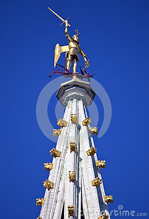 Statue on the Tower of Brussels Town Hall (Hotel de Ville)