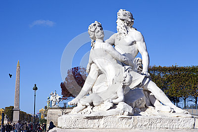 Statue in the Tuileries Garden in Paris Editorial Photography