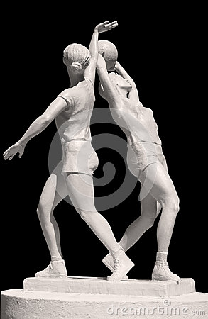 Statue of two sportish girls with volleyball