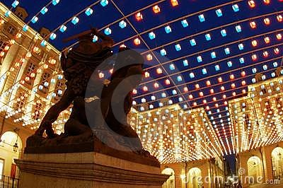 Statue under artistic lights