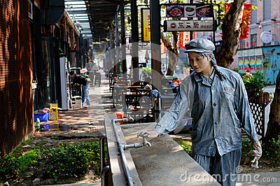 Statue of woman worker,China Editorial Stock Image