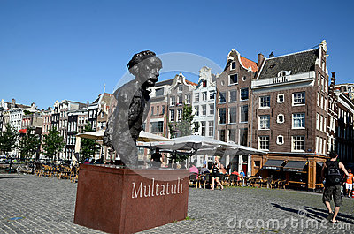 Statue of the writer Multatuli at the Torensluis Editorial Photography
