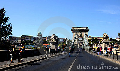 Statues of lions on the chain bridge Editorial Stock Photo
