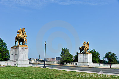 Statues on Memorial Bridge - Washington DC USA