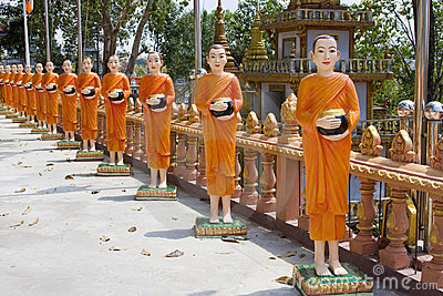 Statues of monks in Cambodia