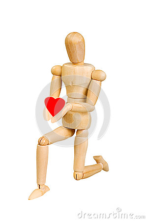 Free Statuette Figure Wooden Man Human Makes Shows Experiences Emotional Action On A White Background. In Love With A Heart In His Hand Stock Images - 60192904