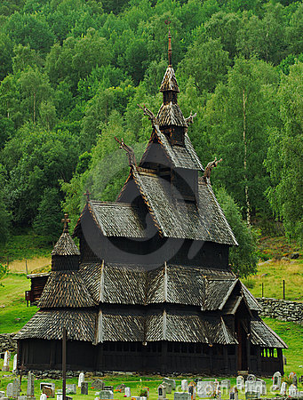 Stave Church in Borgund, Norway Editorial Stock Image