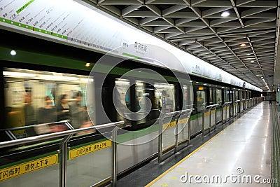 Stazione della metropolitana a Shanghai Immagine Editoriale
