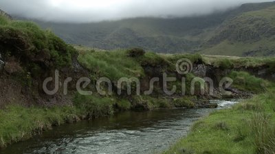 Creek With High Bank. Steady, medium wide shot of a creek with a high bank, mountains in the background stock footage