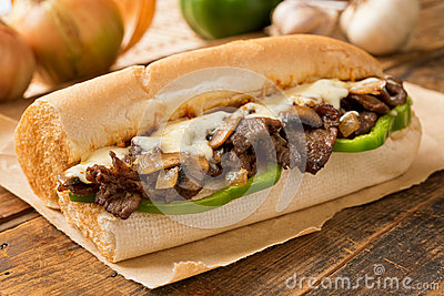 oven baked steak and cheese submarine sandwich with mushrooms ...