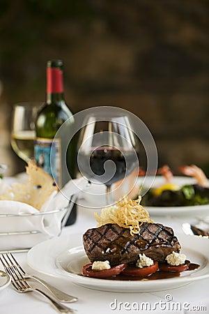 Free Steak Dinner On White Plate. Stock Image - 30993041